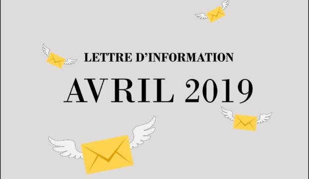 Lettre d'information – Avril 2019