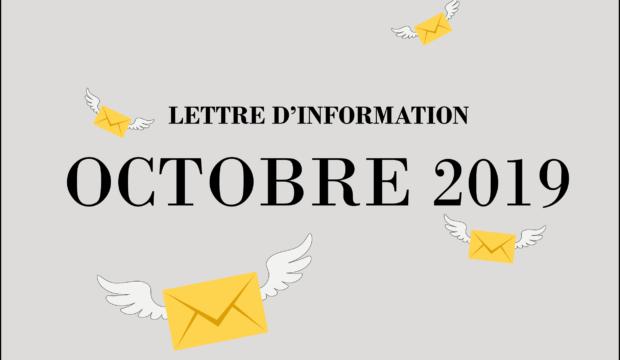 Lettre d'information – Octobre 2019