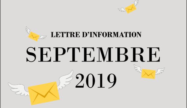 Lettre d'informations – Septembre 2019